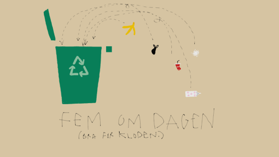 Illustrasjon av søppelkasting.