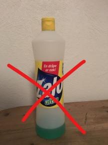 Zalo-flaske med rødt kryss over.