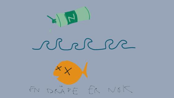 Illustrasjon av Zalo som dreper en fisk.